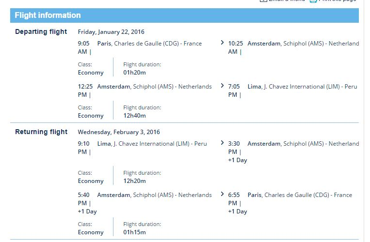 CDG to Lima schedule