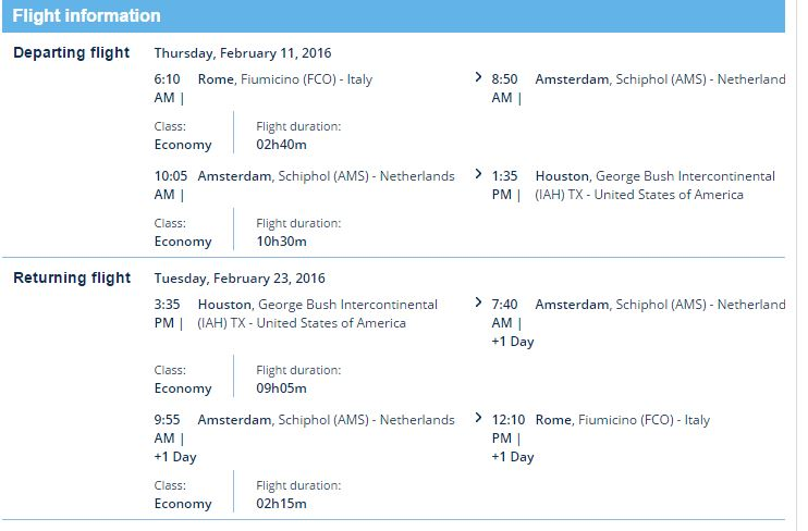 Rome to Houston schedule