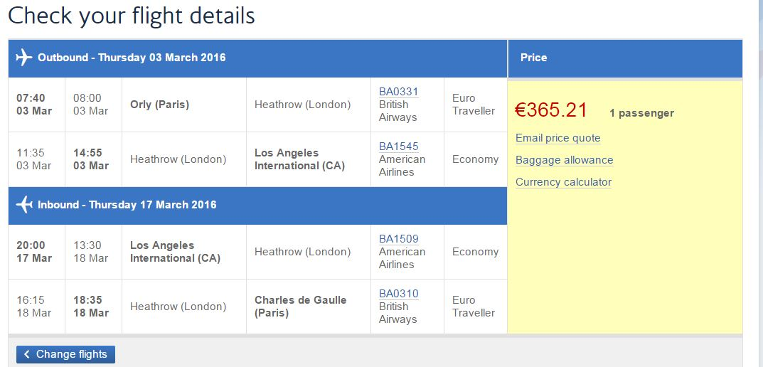 paris to lax price