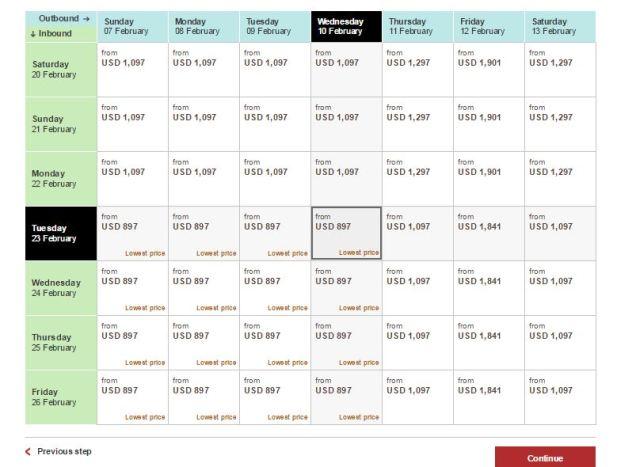 price matrix