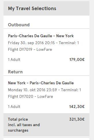 Paris to NYC