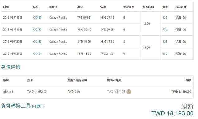 TPE-SYD price