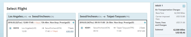 Korean Air to TPE Business