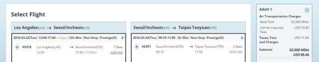 Korean Air to TPE Business