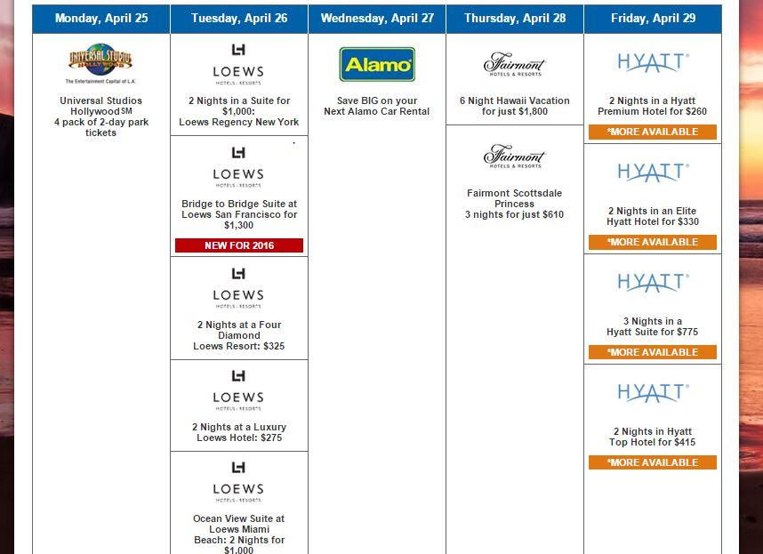 Hyatt calendar