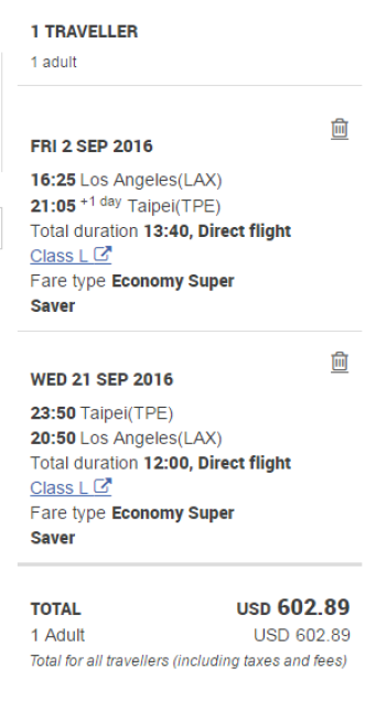 LAX - TPE $603